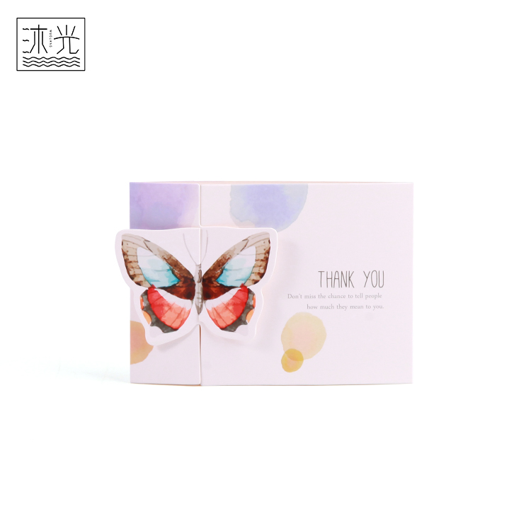 Recycled Paper Custom Printing Thank You 3D Butterfly Birthday Greeting Card