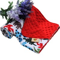 Wearable Super Soft Red Baby Blanket With Cartoon Pattern For Girls Use