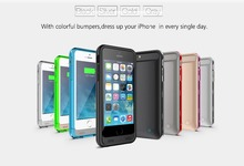 iFANS MFI super slim unbreakable 3100mAh moblie Battery Power Case for iPhone 6/6s with multicolor bumper,OEM provided