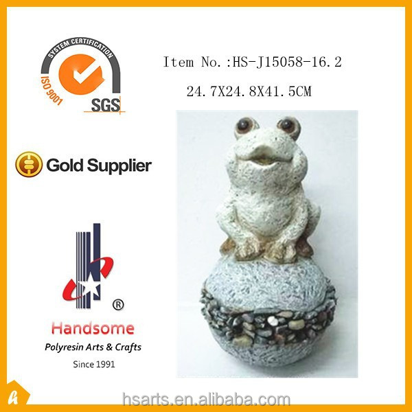 41.5CM polyresin decoration frog statue ornament sitting on stone