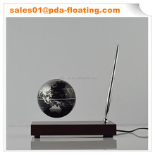 Rectangle red wooden base with a pen 3.5inch magnetic levitating globe for gift