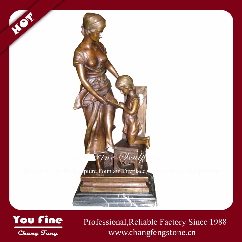 Bronze Mother with Boy Reading Statues