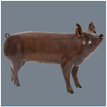 Garden Decoration Life Size Smiling Bronze Pig Statue