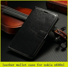 good quality crazy horse grain flip leather wallet case for Nokia n640 xl