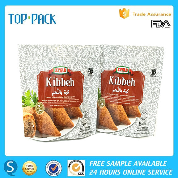 Glossy surface moisture proof packaging bags for fried beef stand up pouches with zipper
