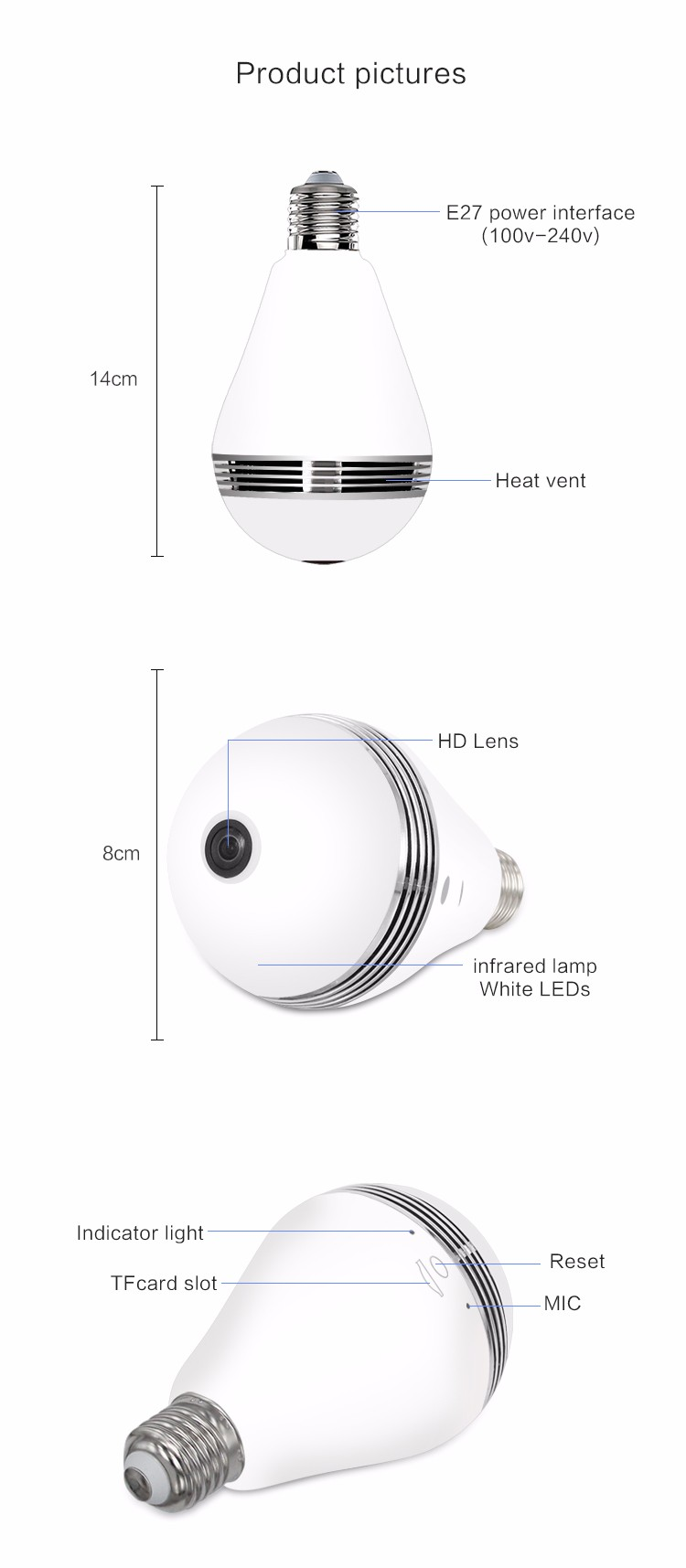 H264 Wifi Light Bulb Camera bulb light camera socket mini light mobile view wifi p2p ip camera XMR-JK42A