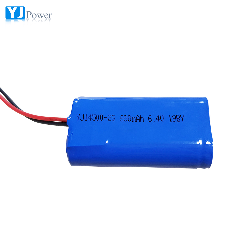 6.4v lifepo4 rechargeable battery pack 14500 1S2P 600mAh
