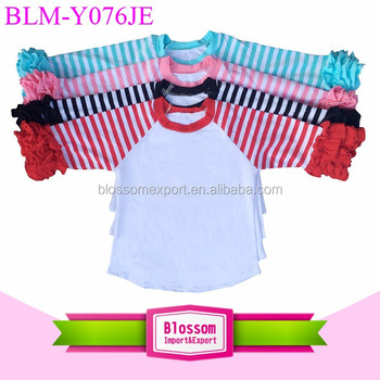 Baby Girl Clothes Icing Raglan Top T shirt Girl Ruffle Striped Raglan Fall Autumn Cotton Wholsale Icing Raglan Shirts