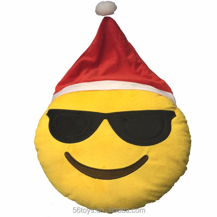 Spanish carnival plush emoji pillow stuffed toys with Chritsmas hat