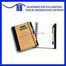 Hot selling logo printed cheap recycle eco friendly notebook with calculator with pen for promotion