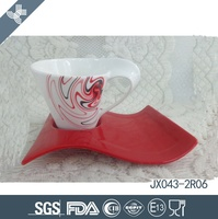 JX043-2R06 200CC Porcelain Cup and Saucer,White Cup and Red Ssucer