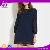 2017 China Guangzhou OEM Supplier Grace 3/4 sleeve Blue Solid Color Chiffon Ladies Official Dresses