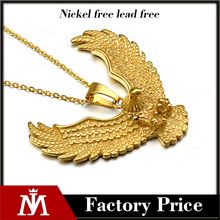 2017 women's vintage custom stainless steel hip hop gold silver tone eagle pendant