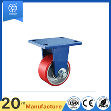"WBD hot selling fixed 4'"" 100mm 1 ton heavy duty pu caster wheel"