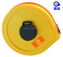 Customized logo printing ABS+ PVC round shape hand rolling magnetic measuring tape roller reel perfect tape measure