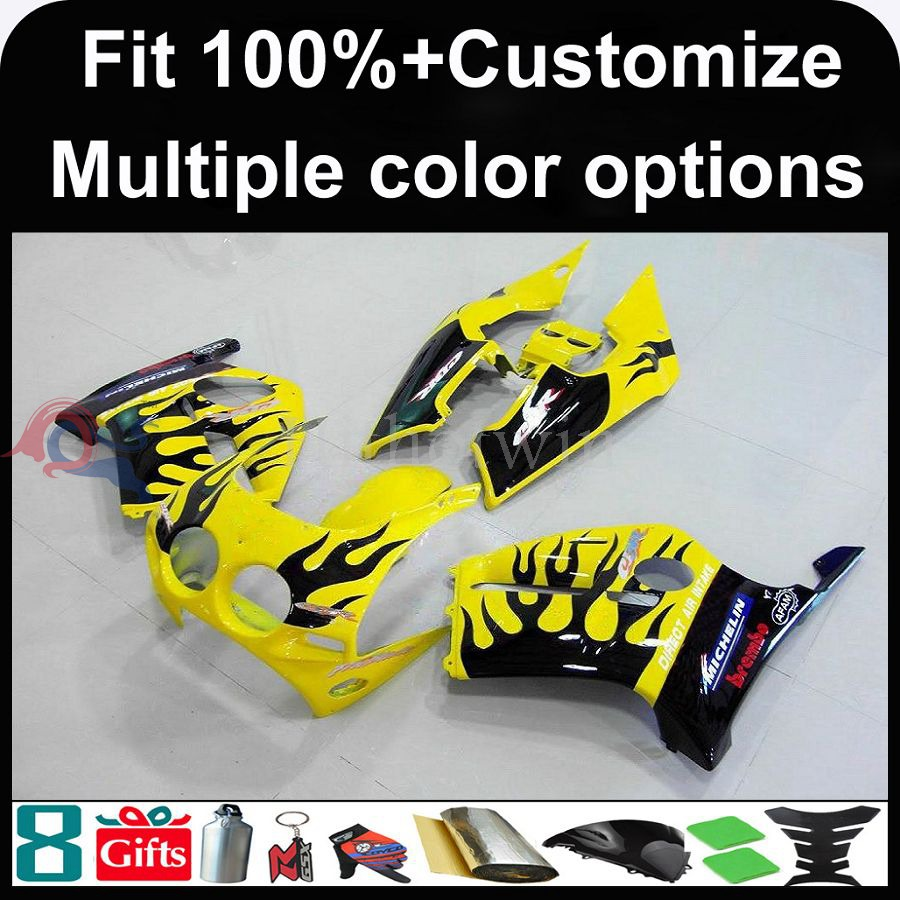 Manufacturer INJECTION MOLDING Fairinged yellow+blue flames for Honda 98-99 CBR250RR MC19 1988 1989 motorcycle cover Fairing