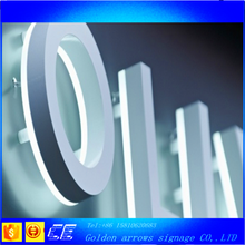 Acrylic metal painted brushed illuminated flat channel letters for shop mall decoration