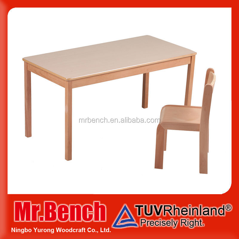 Solid beech wood children study table good quality kids study desk and chair