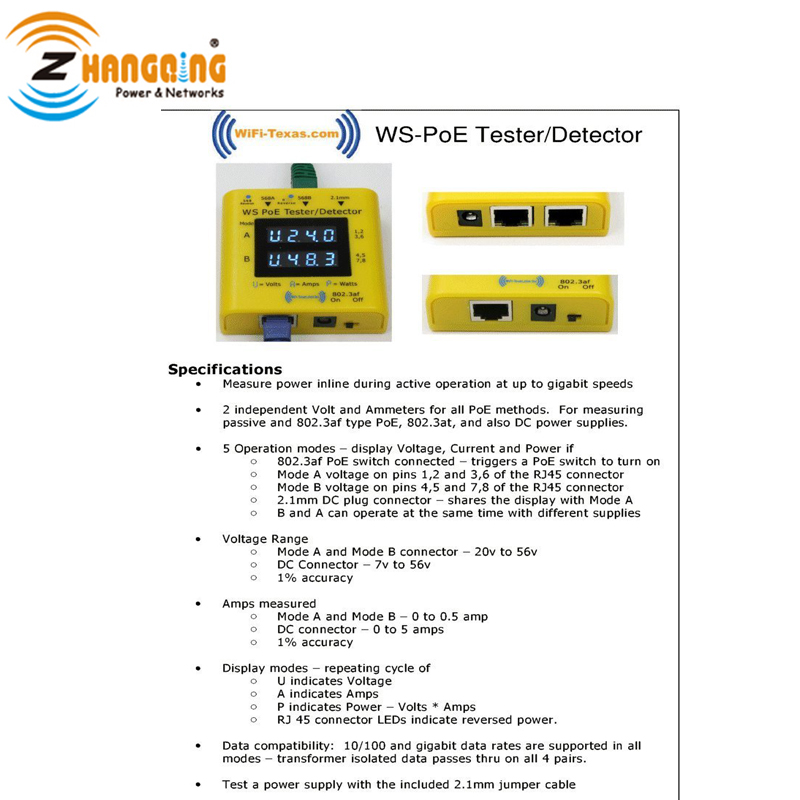 Inline PoE Tester for PoE Camera power over ethernet, display from 20v to 56v, Test 802.3af/at passive PoE at 10/10/1000 data