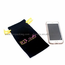 Fashion Embroidery mobile phone drawstring velvet pouch bag