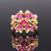 Luxury ladies ring 18k gold plated red ruby emerald jewelry for women