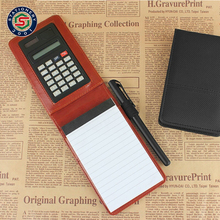 good pu leather mini pocket diary notepad notebook with calculator