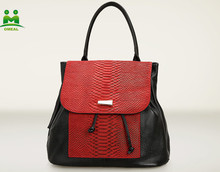 Factory direct sales nice quality red snake skin cheap cute backpacks for teens backpacks Q-S-L45
