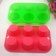 FDA non stick silicone cupcake 6 holes shaped soap mold silicone muffin pan for baking
