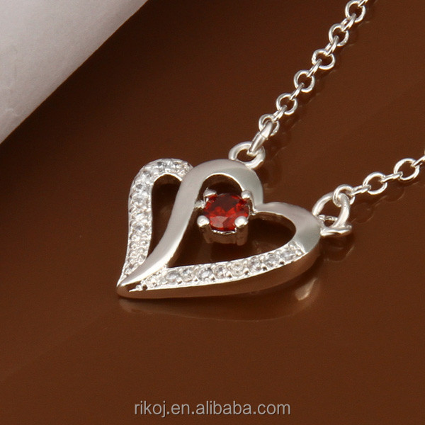 Wholesale ruby stone heart meaningful 925 sterling silver pendant necklace