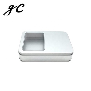 Silver Rectangle Packaging Tin Box Card Metal Tin Box With Pvc Windows Promotional Gift Card Box Luxury