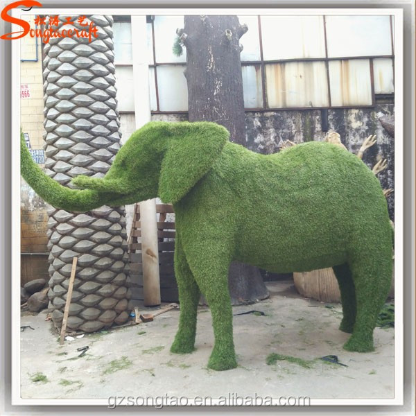 Alibaba China Wholesale Decorative Artificial Topiary Elephant Animals for Garden Decoration