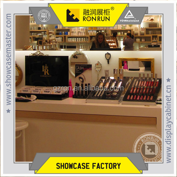 Makeup store interior design and display wood counter and cashier counter