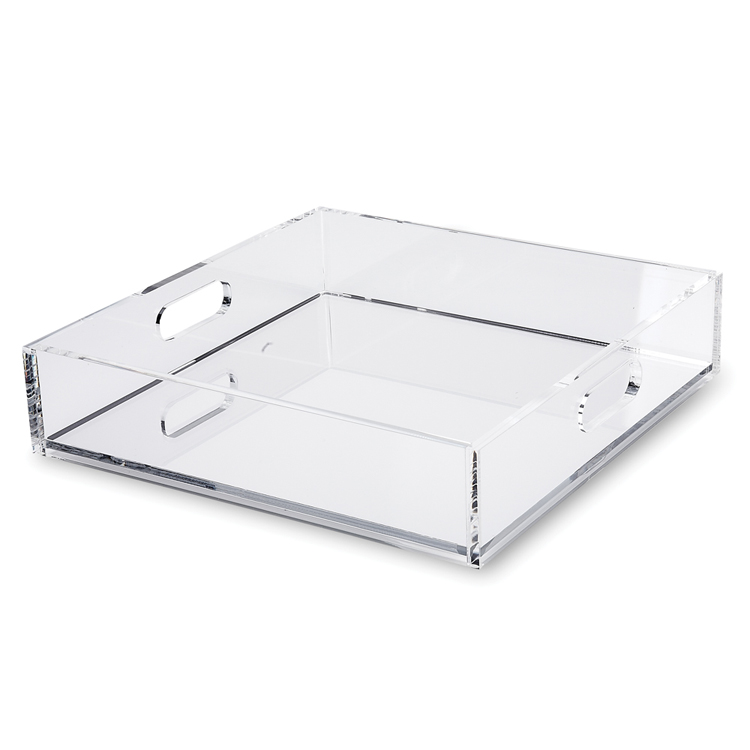 simple portable clear acrylic serving tray with ad frame