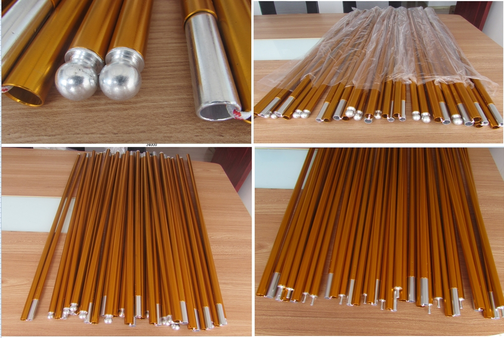 Aluminum telescopic tent poles 16mm anodized pole for military camping tents