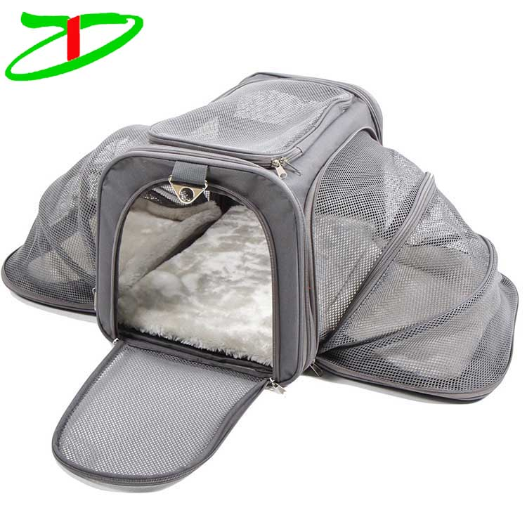 Grey Fabric Small Animal Puppy Dog Cat Pets Carry Bag Airline Approved Soft Sided Expandable Pet Carrier