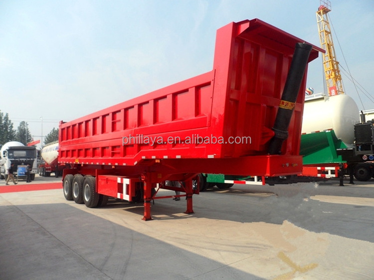 3Axles Hydraulic Back Dump Semitrailer 60Tons Rear Tipper Tipping Truck Semi Trailer With <strong>U</strong> Shape Optional