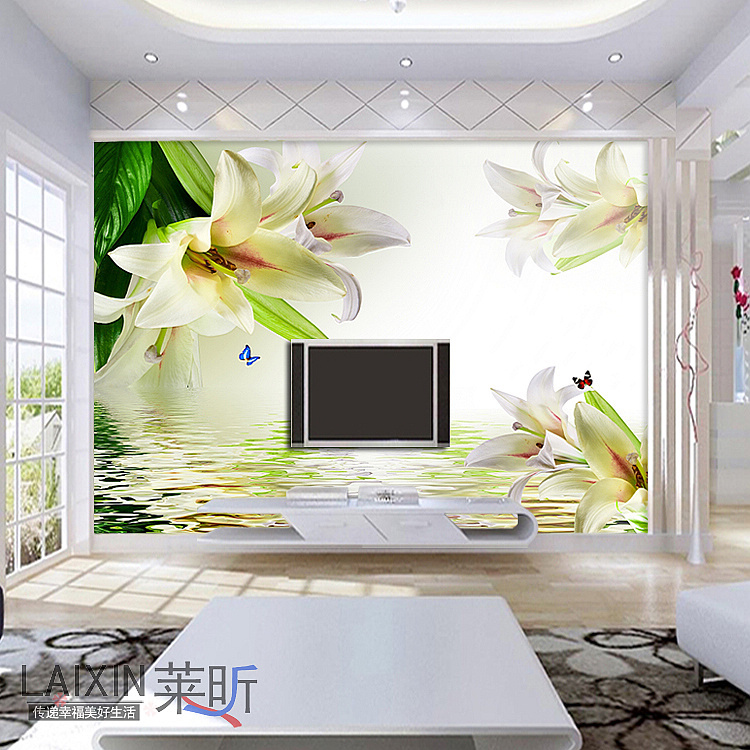 Waterproof self adhesive elegant lovey floral vinyl wall murals for living room