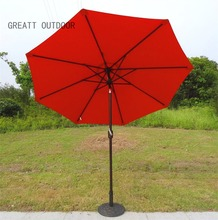 9ft tilted Real Deluxe solar patio umbrella for table decorations