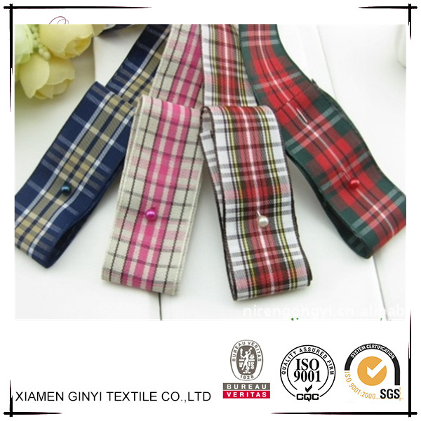 Hot sale colorful elegant tartan printed grosgrain ribbon