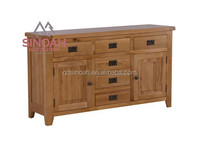 306 rustic style natural oak large sideboard with drawer