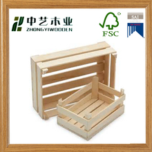 Hot selling customized handicraft small natural wholesale unfinished wooden fruit crates for sale wooden vegetables crates