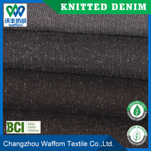 black 100 Cotton terry knit denim fabric for sweater