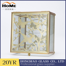 Brass metal decorative clear glass small jewelry box