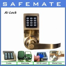 Smart electric Remote Control Security safe Password+Key+RF card Door Lock