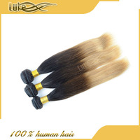 online buy fast shipping soft and smooth dyeable colored three tone hair weave Brazilian human hair weft