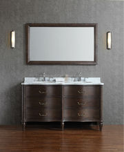 Modern 72 inch Double Sink Floor Standing Solid Wooden Bathroom Furniture, Antique Bathroom Vanity with Mirror