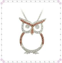 Newest alloy Rose Gold Champagne Diamond Accent Owl Necklace((A103058)