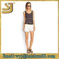 New design western girls summer short set, scalloped seersucker lounge shorts