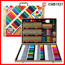 200 Pieces Professional Wooden Box Rainbow Art Set