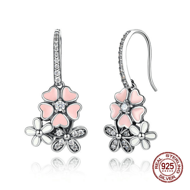 925 Sterling Silver Earrings Cubic Zirconia Flower Hoop Earrings <strong>Jewelry</strong>